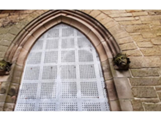 The ornamental heads have gone missing from Dean Road Chapel in Scarborough. Photos by Coast and Vale Community Action