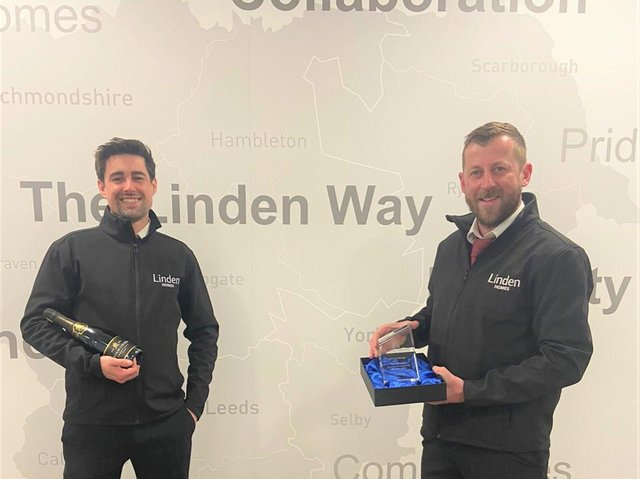 Company health and safety award winners Terry Palmer and Gary Barker with their trophy.