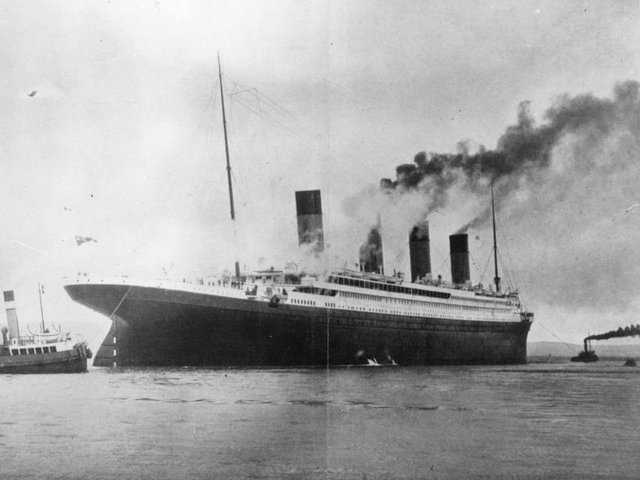 The RMS Titanic on trials in Belfast Lough in 1912.