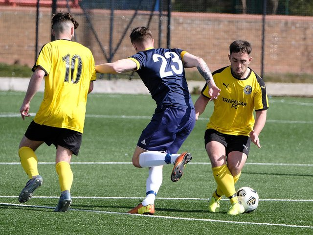 ON TARGET: Joel Ramm scored a stunning early strike in Trafalgar's win over Yarm Town in the North Riding FA Sunday Challenge Cup at Pindar on Sunday. Picture: Richard Ponter
