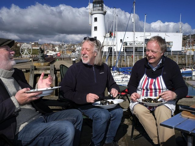 Kane Cunningham, John Oxley and Nick Taylor  enjoying some mussels to mark  the launch of Big Ideas by the Sea.