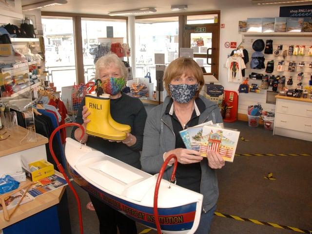 Lifeboat shop volunteers, Angela Bamford (left) and Hazel Kynaston.