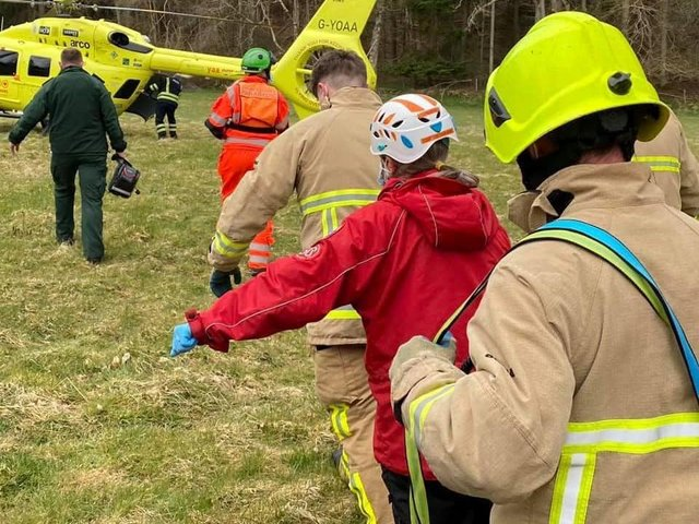 Scarborough and Ryedale Mountain Rescue Team and an air ambulance joined firefighters and paramedics to help a man who had fallen down a riverbank in Goathland. Pictures by Scarborough and Ryedale Mountain Rescue Team.