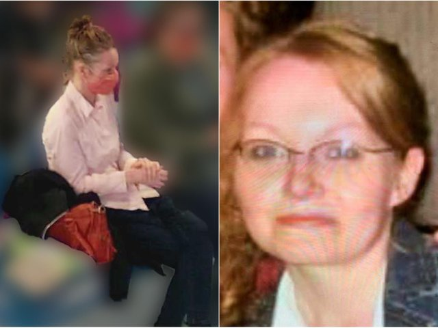 Sarah is believed to be wearing jeans, a light-coloured blouse top and brown flat boots. She may be carrying a red bag.