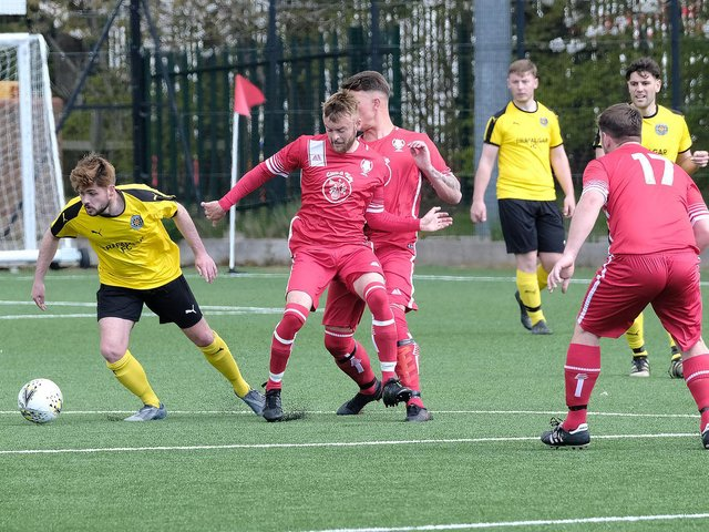 Trafalgar, yellow kit, defeated Newlands 2-0 in the NRCFA Cup semi-final.  Photo by Richard Ponter
