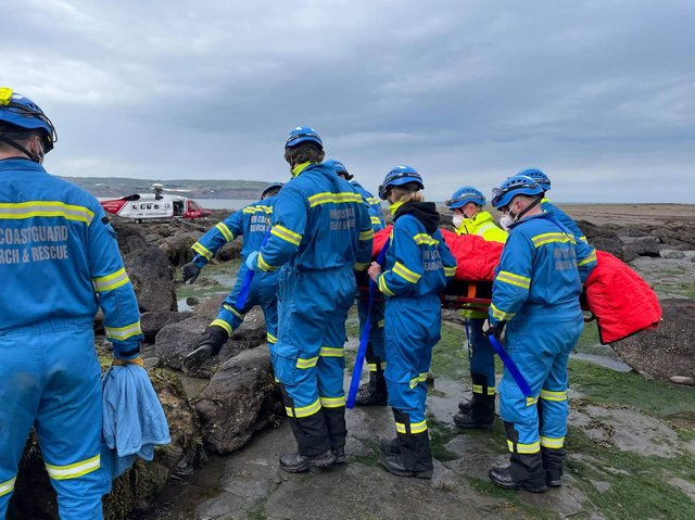 Coastguard crews and the coastguard helicopter helped an injured walker near Scarborough. Photo by Scarborough and Burniston Coastguard Rescue Team