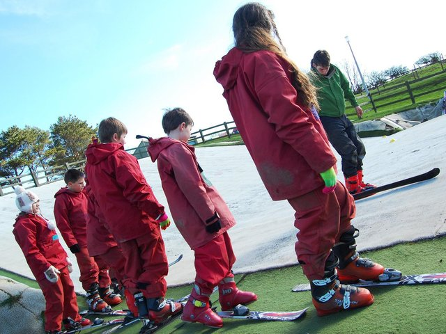 Youngsters learn to ski at East Barnby Outdoor Centre.