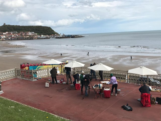 Filming of Watercolour Challenge at the Spa.