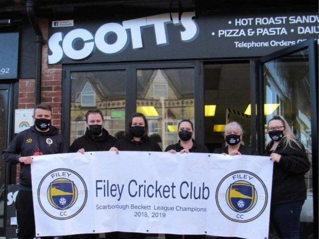 The team from Scott's Hot Roast in Filey who have raised nearly £2,000 in memory of Scott Pearce.