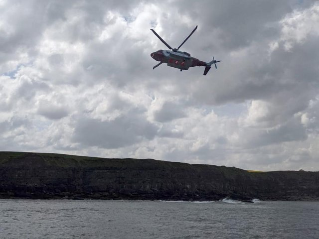 The search and rescue helicopter out during a search earlier today. (Photo: Scarborough RNLI)