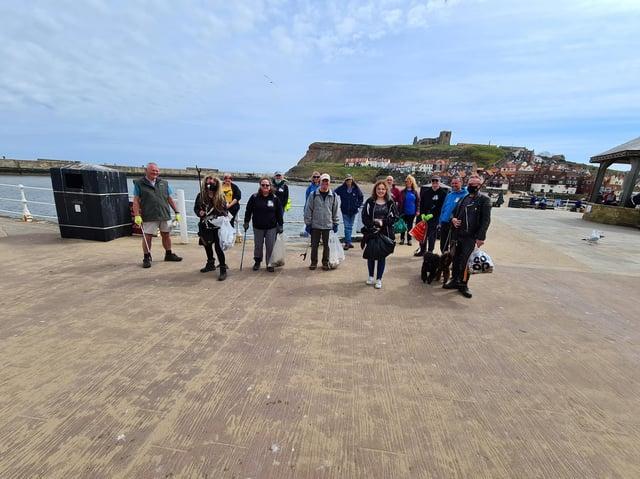Volunteers at Whitby beach sweep.