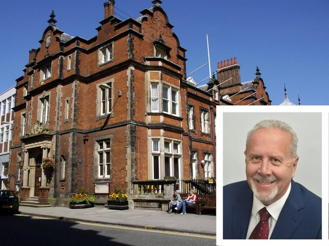 Scarborough Town Hall with Cllr Steve Siddons, inset.