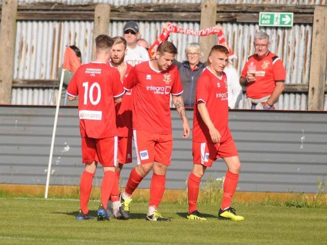 Bfrid Town celebrate a goal in the 2020-21 season