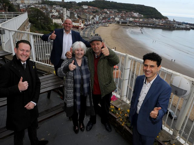 James Mason, CEO of Welcome to Yorkshire, left, Andy Freeth, CEO of National Holidays, back, Maureen Earnshaw and Danny Henry from Huddersfield and Alex Sobel, Shadow Minister for Tourism and Heritage.