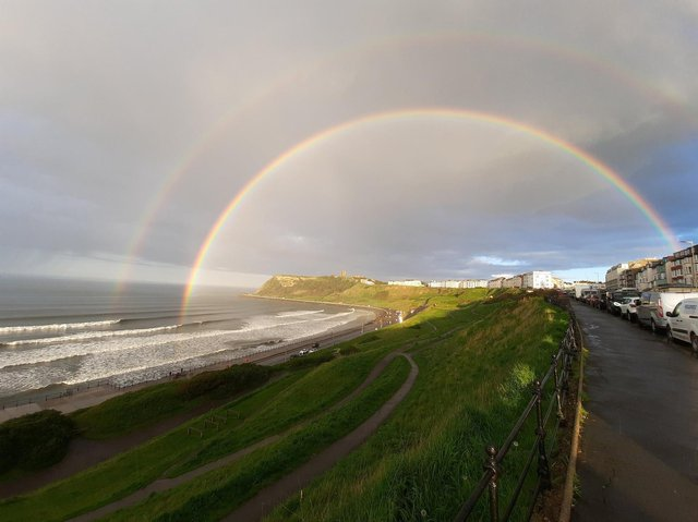 The stunning double rainbow was spotted over the North Bay. (Photo: Glynn Botterill)