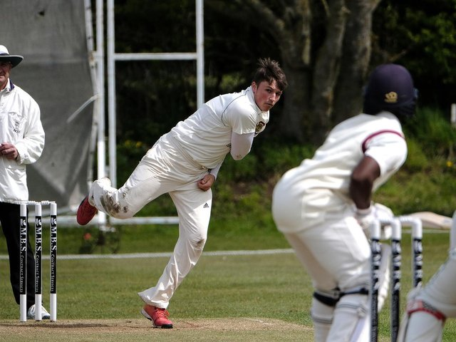 Elliot Hatton, above in bowling action, top-scored with 78 in Folkton & Flixton's loss against Welton