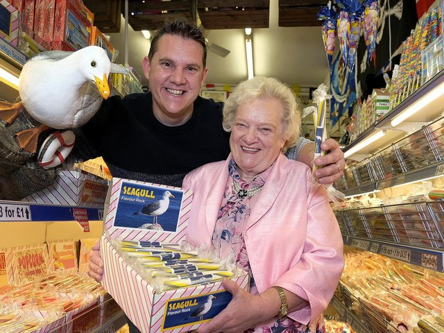 Miles Jackson with Mum Dawn who runs the store with the special seagull-flavoured rock.