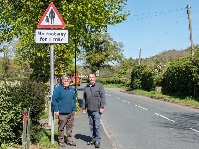 Councillors Clive Pearson and Joe Plant at the Briggswath end of The Carrs.