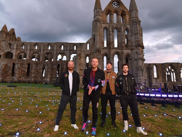 Coldplay at Whitby Abbey. picture: BBC.