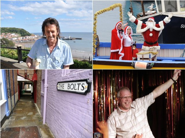Clockwise from top left: Danny Wilde, Santa arriving in the harbour, Dave Marshall and The Bolts.