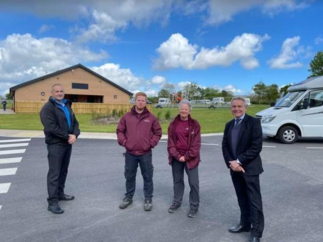 From left,: Phil Monkman, regional manager, Caravan and Motorhome Club, site managers Ryan Pickering and Lynn Hodgson and Robert Goodwill MP