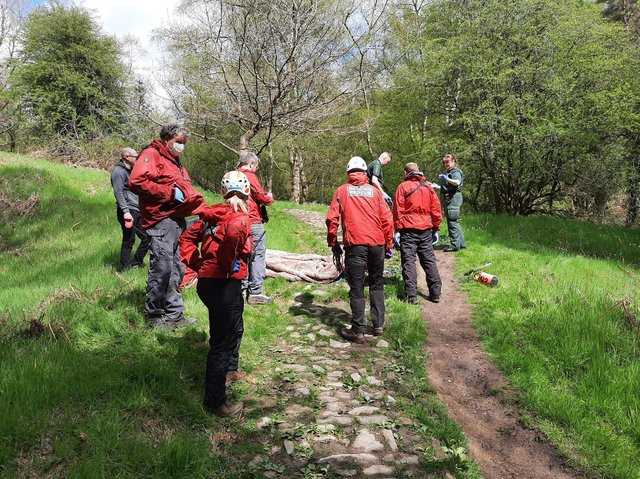 Scarborough and Ryedale Mountain Rescue Team helped paramedics move the patient.
