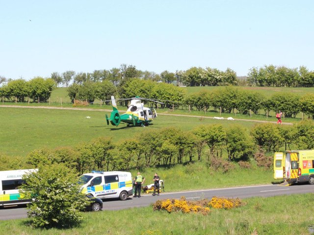 The air ambulance at the scene beside the A171 near Scaling Dam. Photo by Helen Brown.