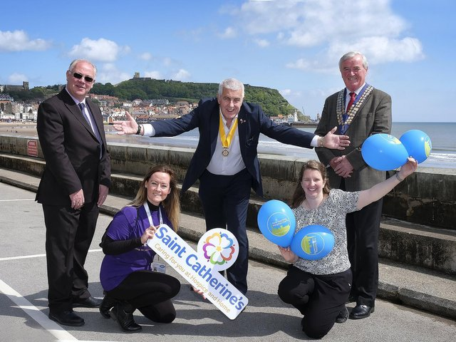 Graham Ibbotson from the YMCA, Susan Stephenson from St Catherine's Hospice, incoming president Nigel Wood, Lucy Clegg representing Scarborough Hospital and outgoing president Roger Cannon.