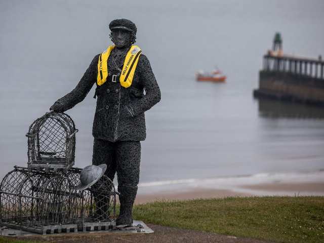 Whitby sculptures dressed in Helly Hansen lifejackets to promote the importance of safety at sea.
