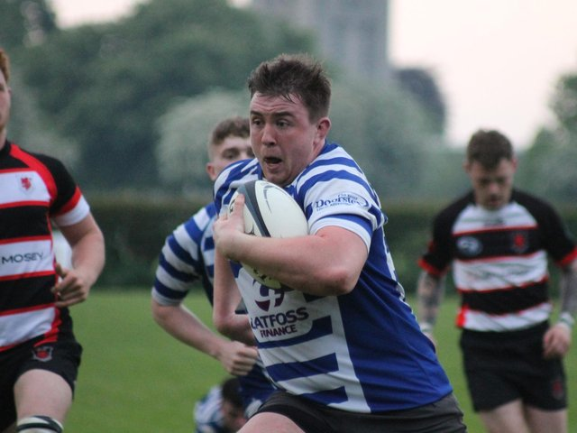 Sam Garvey on his way to scoring a try in the loss to Malton & Norton.