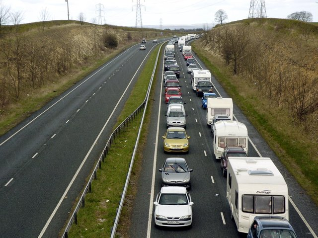 Traffic queuing on the A64. Picture: JPI Media