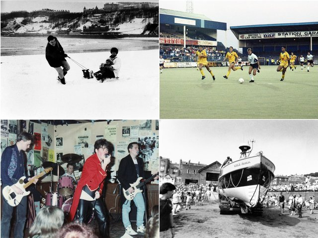 Clockwise from top left: Snow on South Bay, Football at Preston North End, Lifeboat launch, local band. Pictures: JPI Media