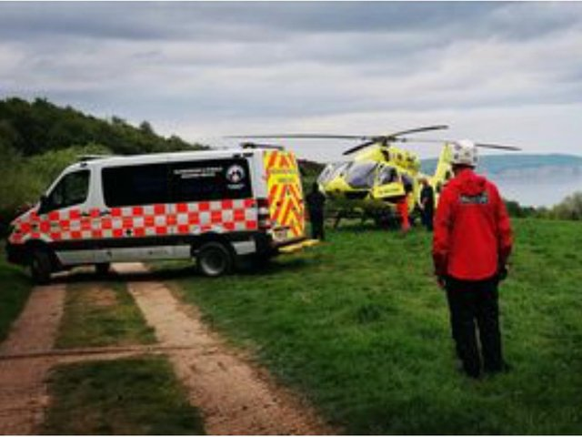An air ambulance was called to help one of the injured cyclists.