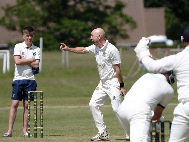 Heslerton bowler Paul Kinghorn appeals unsuccessfully for an LBW decision against Sewerby  PHOTO BY RICHARD PONTER