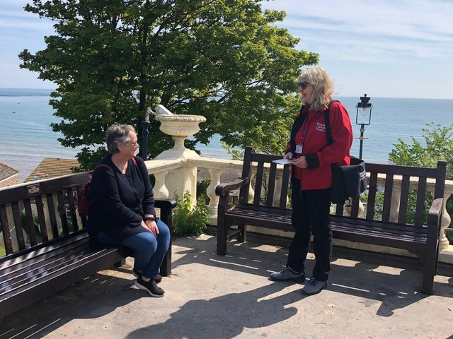 A welcome ambassador greets a visitor in Filey.