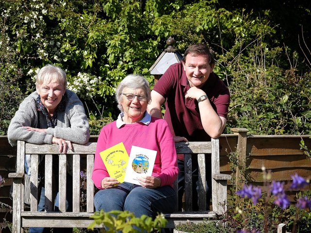 Rev Elizabeth Kitching with her illustrators Janice Springall and Gordon Reed.