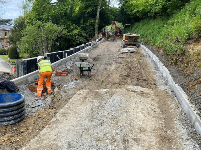 Urgent road repairs had to be carried out following a landslip.