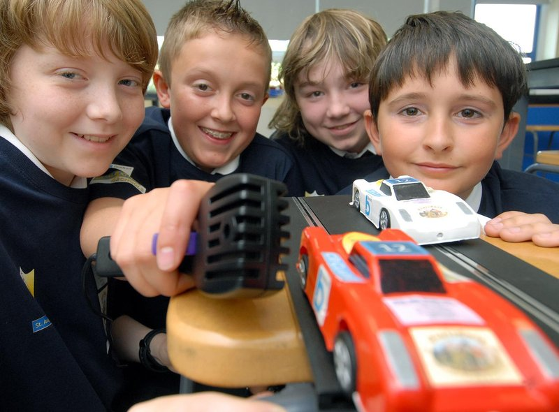 St Augustine's School pupils get ready for a Scalextric challenge. Pictured left to right,  Michael Thompson, Callum Murden, Daniel Gyte, Sam Pybus.