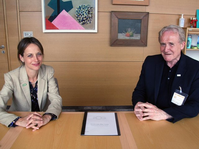Care Minister Helen Whately with Independent Care Group Chairman Mike Padgham.