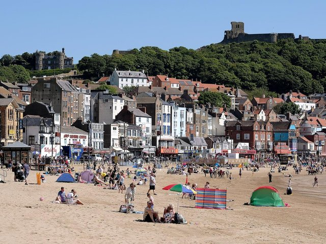Scarborough's beaches were packed as tourists headed to the coast during half-term.