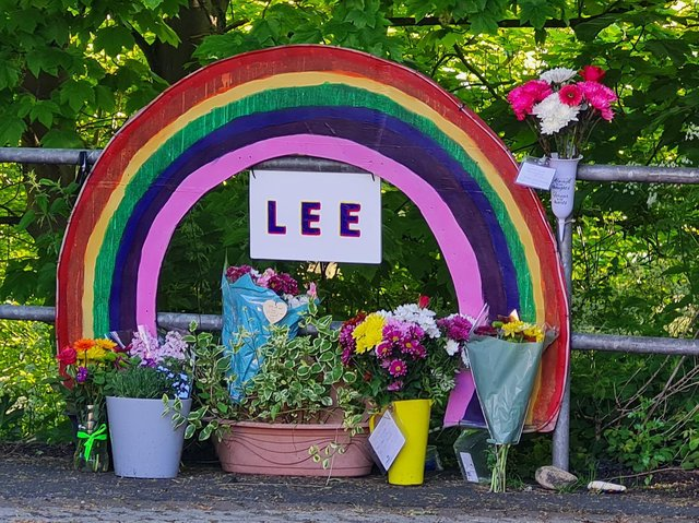 The memorial for Lee Cowling. Picture: Lucy Barnes