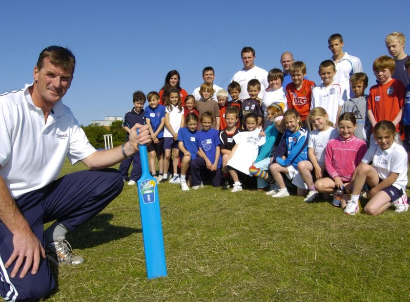 Cricket coaching at Eskdale School with ex-Yorkshire cricketer David Byas.