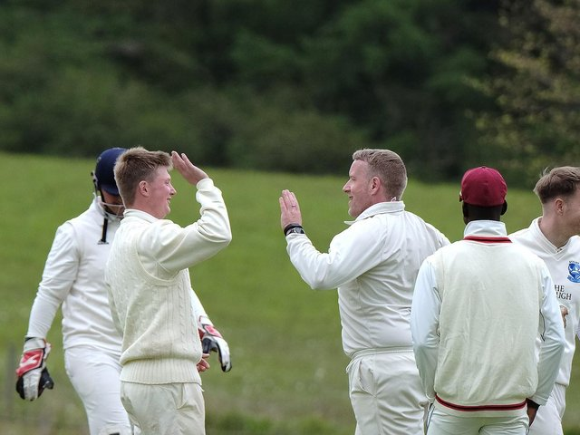 Scalby celebrate a wicket earlier this season against Staxton