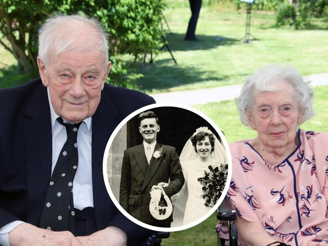 Retired police officer Ken Dale and his wife Betty celebrate their platinum wedding anniversary. Inset: The couple on their wedding day on June 16, 1951.