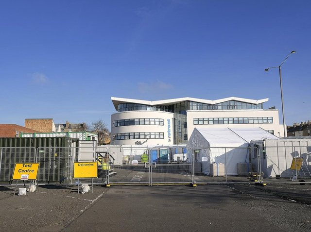 The Covid-19 testing facility at William Street coach park in Scarborough. Picture: JPI Media/ Richard Ponter
