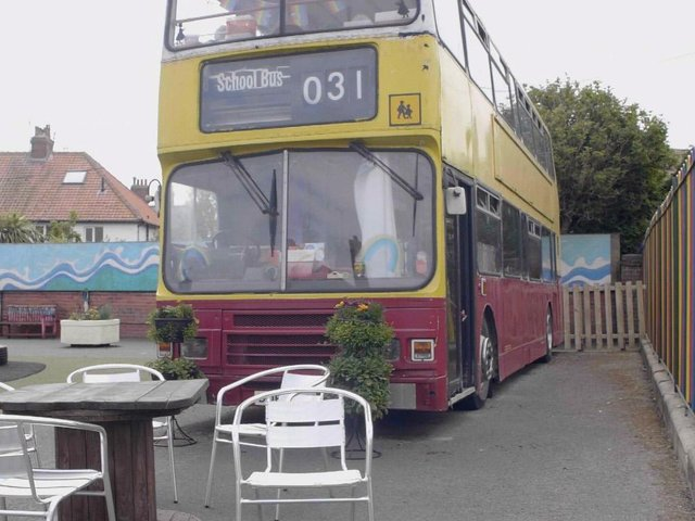 Dorothy, the wellbeing bus, at West Cliff Primary