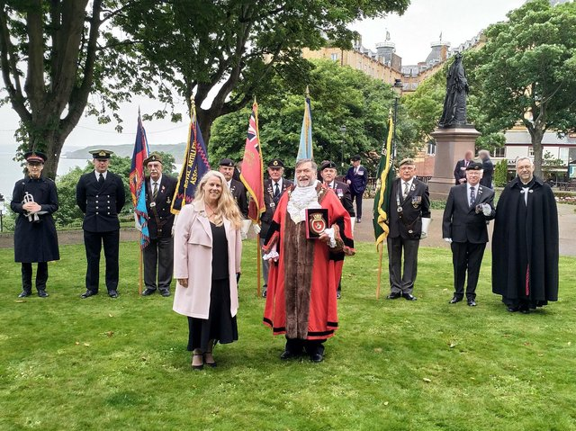 Mayor and Mayoress of the Borough of Scarborough, Cllr Eric Broadbent and Mrs Lynne Broadbent with standard bearers