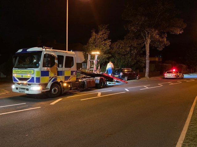 A car being towed after the driver was stopper by police on suspicion of taking without the owner's consent and drink driving. Picture: North Yorkshire Police