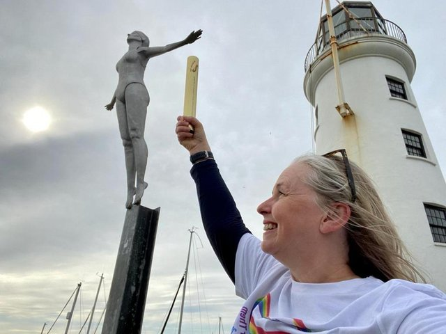 Caroline Powell at the Diving Belle statue on Lighthouse Pier in Scarborough.