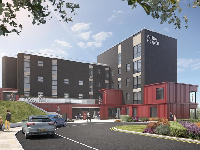 How Whitby Hospital is expected to look when building works are complete, with the current estimate being early 2022.